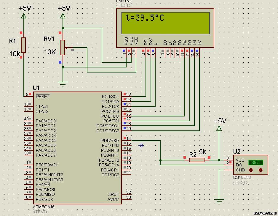 Схема устройства на atmega16